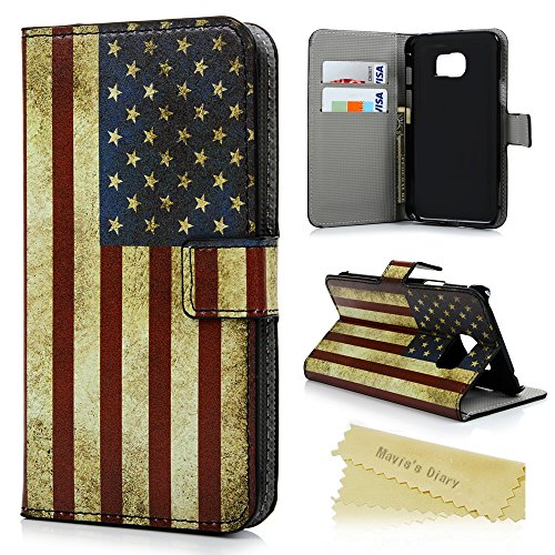 Galaxy S7 Active Case (Active Model,NOT for General S7) - Mavis's Diary Premium PU Leather Wallet Flip Folio Case [Card Slot] Kickstand Magnetic Snap Cover for Samsung Galaxy S7 Active - American Flag