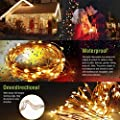 MZD8391 Upgraded Stay-On 66FT 200 LEDs Christmas String Lights Outdoor Indoor - 100% UL CERTIFIED - For Wedding, Party, Patio, Porch, Backyard, Garden Decoration, Warm White