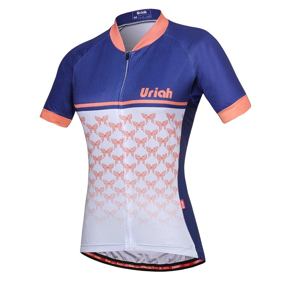Uriah女性用サイクリングジャージー半袖Reflective背面ファスナー付きバッグ B07CRQCXZK Chest 33.8''=Tag XS ライトオレンジ ライトオレンジ Chest 33.8''=Tag XS