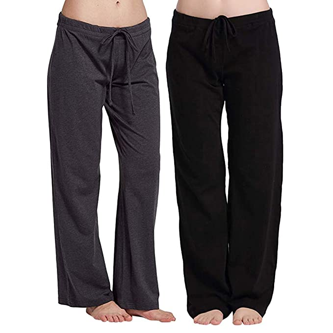 Amazon.com: Creazrise Womens Comfy Wide Leg Stretch Cotton ...