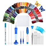 [Latest Model]Punch Needle Embroidery Kit,Punch Needle Set Magic Embroidery Pen with Cloth,50 Colors Threads&Embroidery Tools (Color: Latest Model Punch Needle)