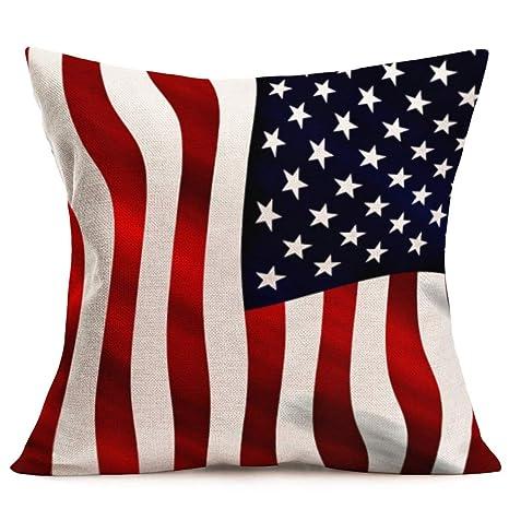 Fundas de almohada de bandera americana Vintage madera roja ...