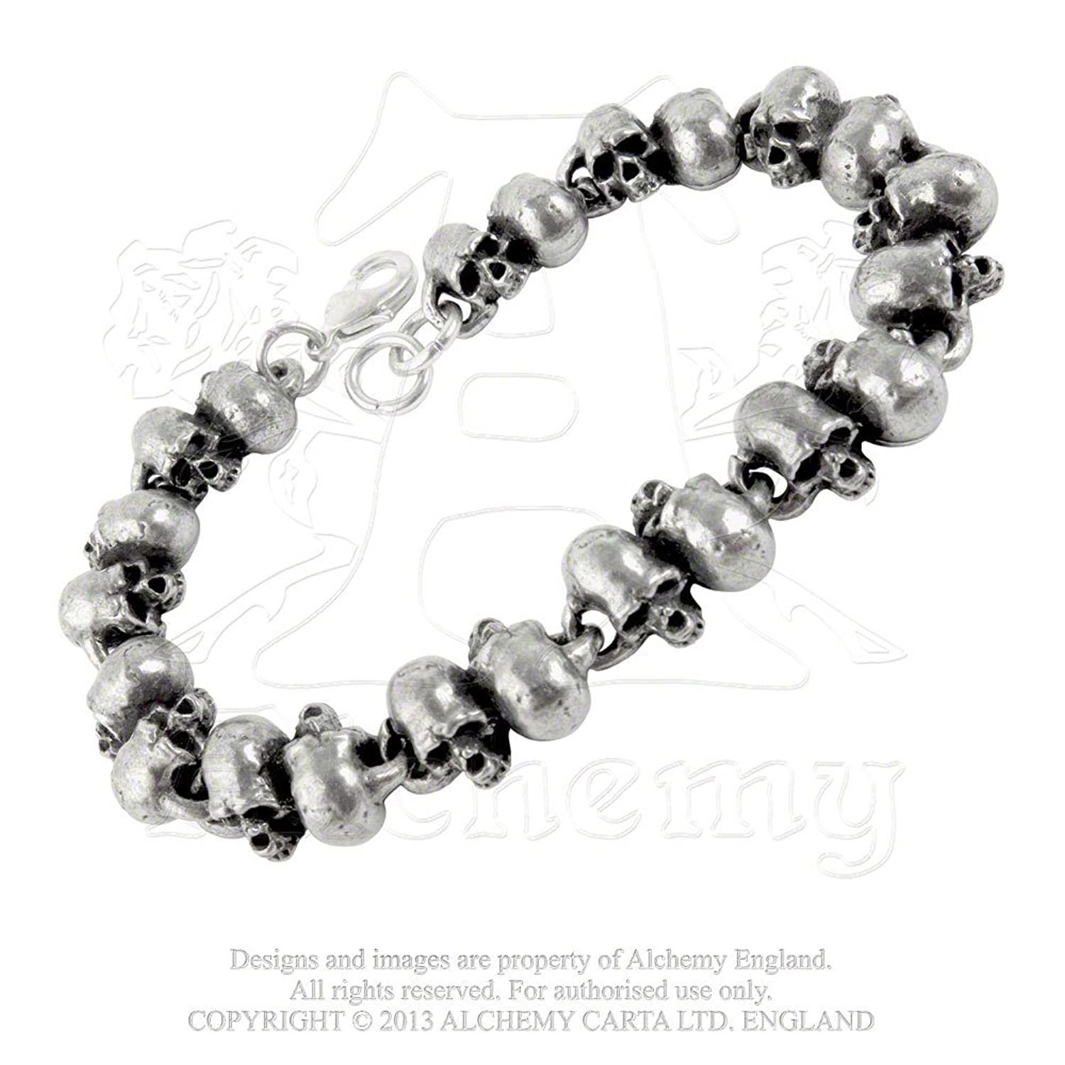 Pewter War Trophy Skull Beads Pirate Bracelet