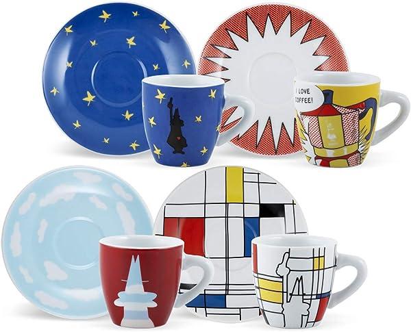 Bialetti Espressotassen 4er Set New Arte, dickwandig, Porzellan, multicolor