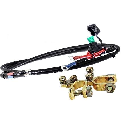 enjoysolar/® Cavo batteria 6 mm2 regolatore di carica solare e batteria con fusibile ad anelli M8 1,5 m M8 10 a fusibile