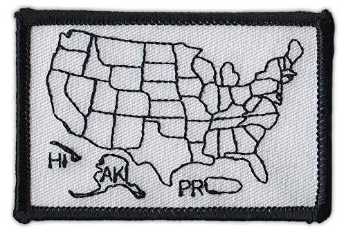 Motorcycle Biker Jacket/Vest Embroidered Patch - States Traveled Map Patch  - Color in States You Have Visited