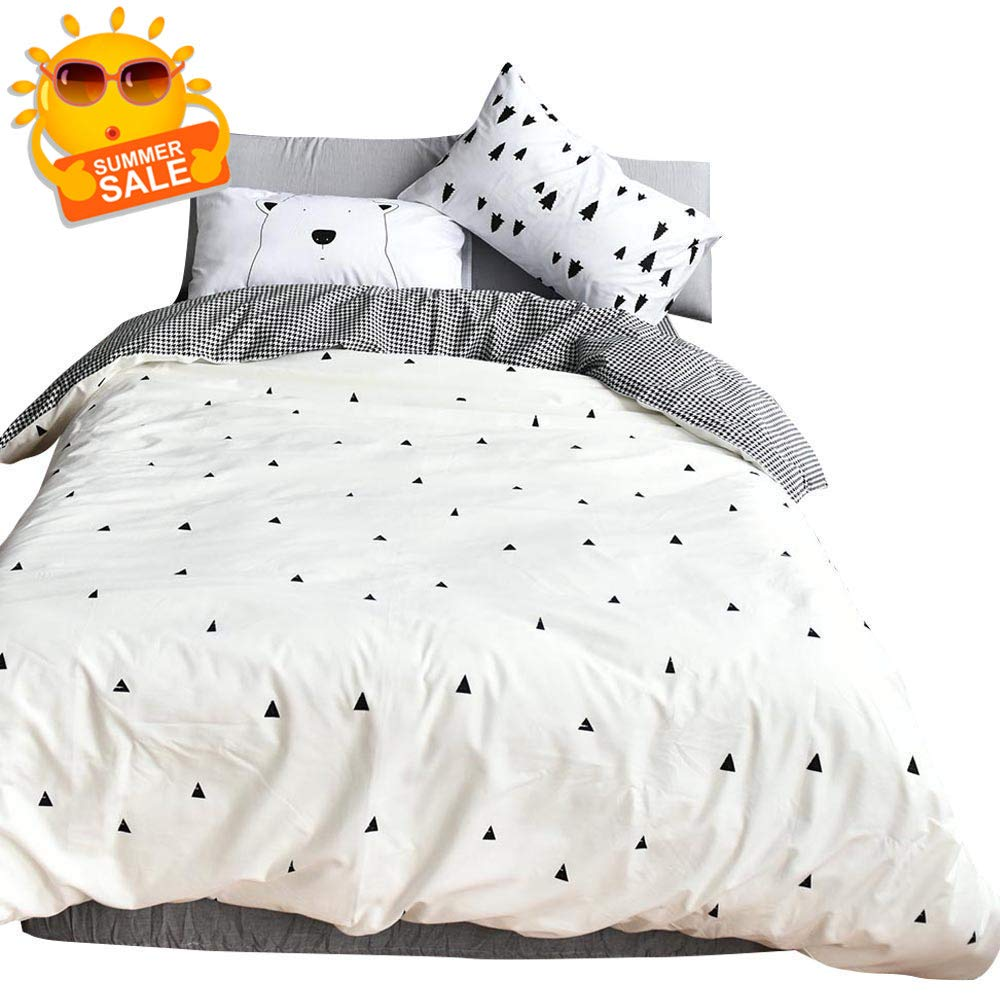 BuLuTu Forest Bear Kids Twin Duvet Cover White Cotton,3 Pieces Reversible Houndstooth Print Promotional Soft Triangle Duvet Cover Set with Zipper Closure and 4 Ties for Teen Boys Girls,No Comforter