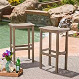 Christopher Knight Home 304143 Caribbean Outdoor 30'' Acacia Wood Barstools (Set of 2), Grey