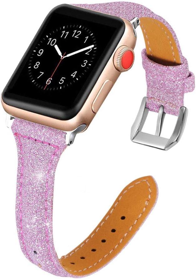 Correa Cuero Compatible con Apple Watch 38mm 40mm 42mm 44mm, Brillante Correa Repuesto Cuero Reemplazo de Bandas Brazalete Glitter Pulsera de Repuesto Compatible con Apple Watch SE Series 6 5 4 3 2 1