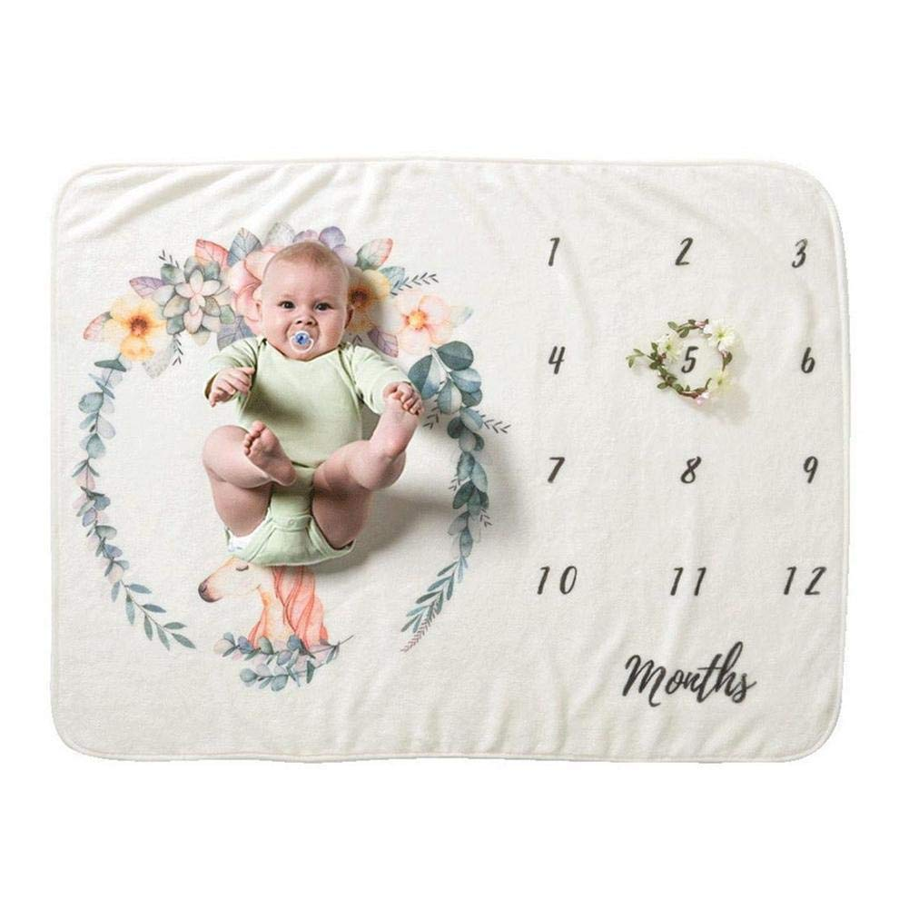 Assiduousic Soft Baby Blanket with Polyester 4 Patterns of Nap Stalls 12 Month Milestone Blanket Track Record Your Babys First Year of Good Memories Beautiful Pattern Design for Newborn Shooting