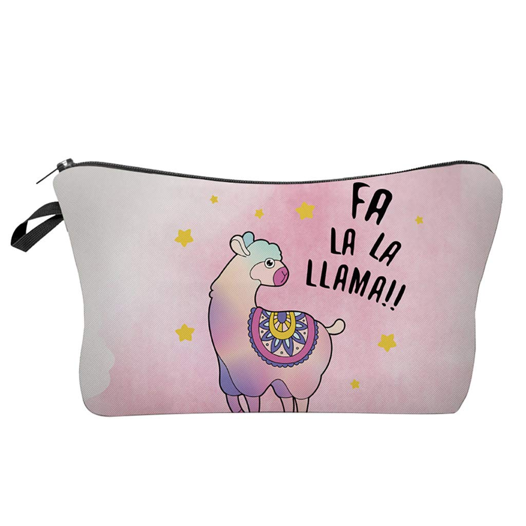 Pausseo Women Letters Alpaca Printing Makeup Cosmetic Brushes Bag Toiletry Storage Travel Handbag Student Pencil Zipper Clutch Case Stationery Box Pouch School Supplies Coins Change Pen Purse Pack (G)