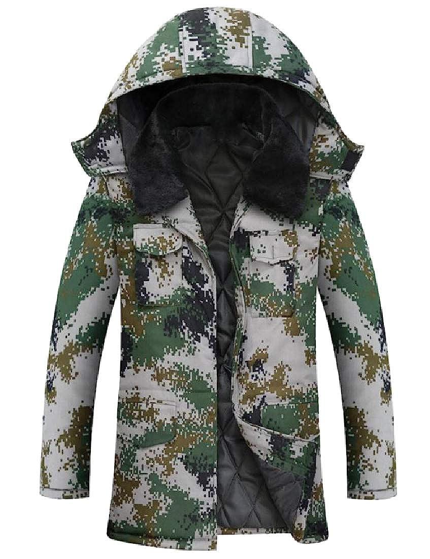 Abetteric Mens Multicam Sherpa Collar Combat Puffer Jacket with Hood