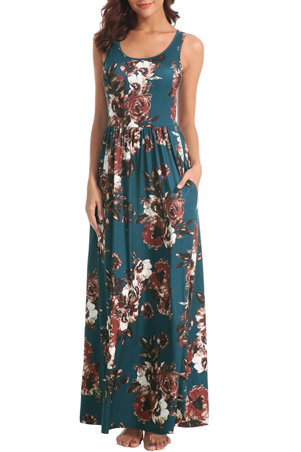 c1b203a27d Zattcas Women Floral Maxi Dresses Sleeveless Casual Summer Long Dress with  Pockets at Amazon Women's Clothing store: