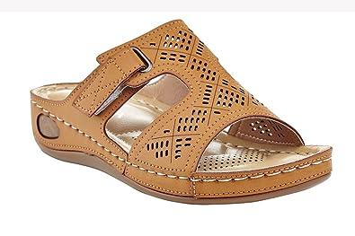 97ed4d3f74c71 Lady Godiva Laser Cut-Out Detail Open Toe Comfort Platform Wedge Slip-On  Sandal
