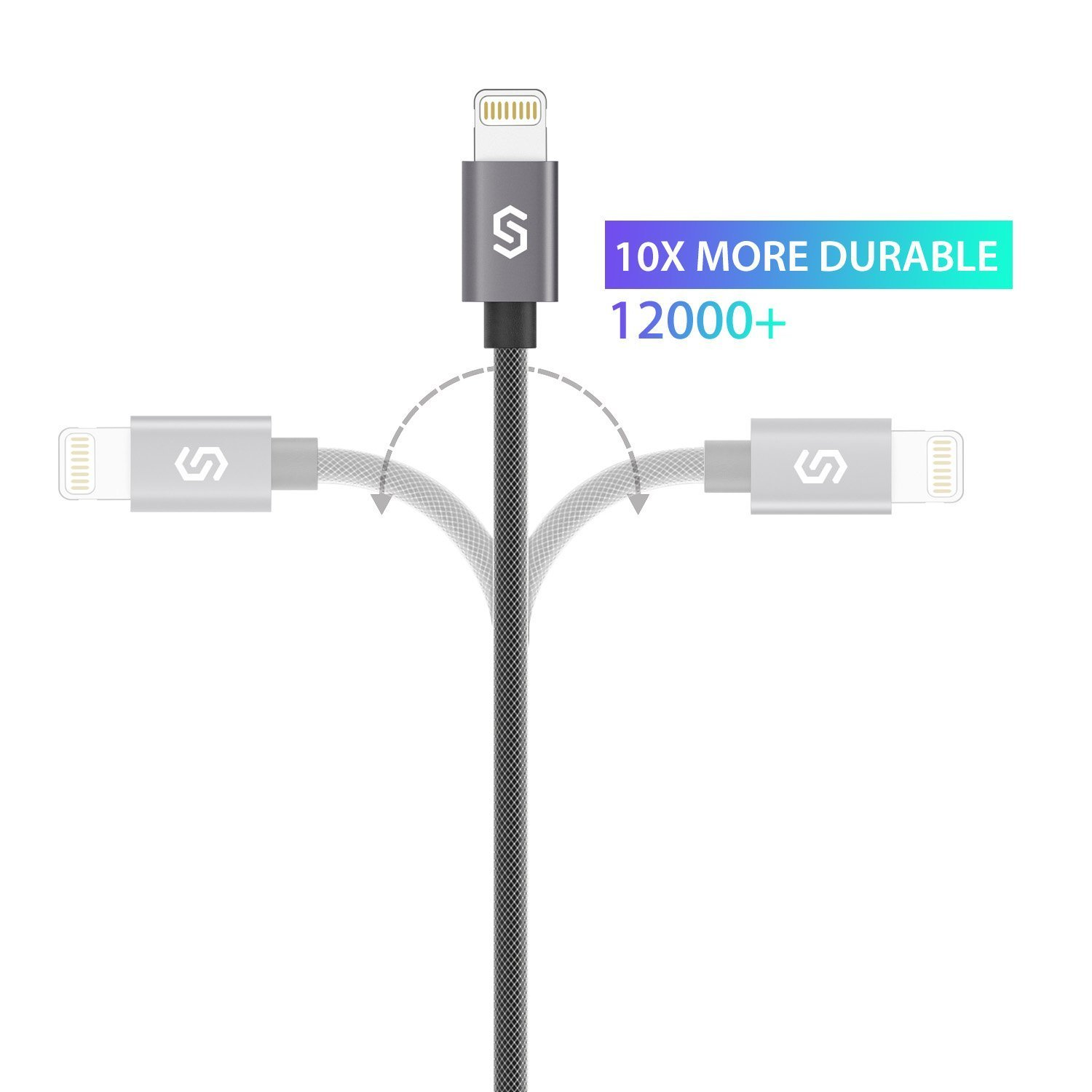 iPhone Charger Syncwire Lightning Cable - [Apple MFi Certified] 6.5ft Nylon Braided for iPhone X, 8, 8 Plus, 7, 7 Plus, 6s, 6s Plus, 6, 6 Plus, SE, 5s, 5c, 5, iPad Mini, iPad Air, Pro - Space Gray by Syncwire (Image #4)
