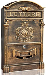 ZfgG European Classical Villa Mailbox Pastoral Retro Wall Letter Box Waterproof Outdoor Post Mailbox with Lock (Color : Bronze)