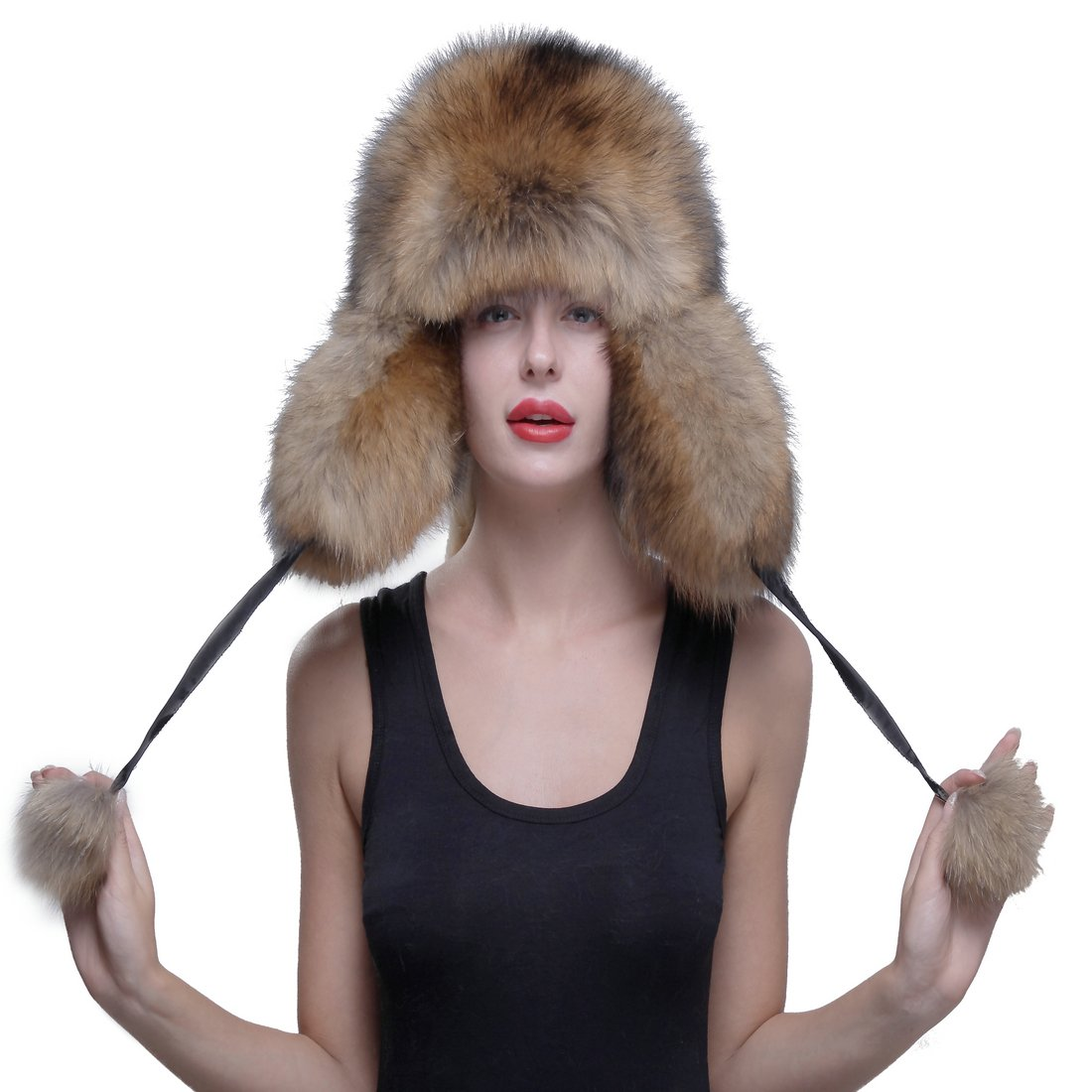 URSFUR Genuine Raccoon Fur Russian Ushanka Trapper Hat Cap with Fur Ball Pompom by URSFUR (Image #2)