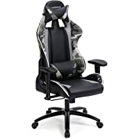 SONGMICS Bürostuhl Gaming Stuhl mit Hoher Rückenlehne Formschaum Gepolsterte Sitzschale Verstellbare Kopfkissen und Lendenkissen für Soho- Oder Büroarbeit schwarz-Tarnfarben RCG47BG