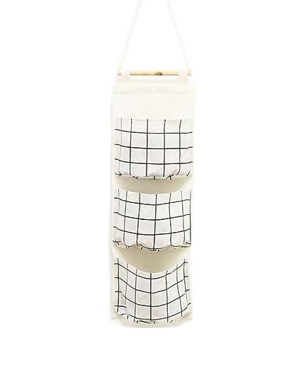 c3e2b9576dbd Mvchif 3 Pockets Hanging Wall Storage Over Door Waterproof Fabric Organizer  Brief Style for Bedroom Closet (White Grid)