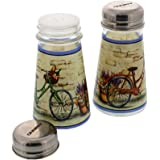 Set of 2 Glass Salt and Pepper Shakers - Elegant Designed Decorative Bicycle Theme Decor Stainless Steel Tops- 3.3oz 2.25 x 4.25 inches