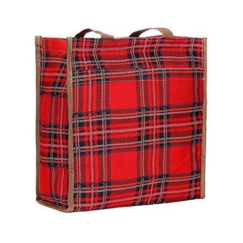 Signare Red Royal Stewart Tartan Shopper Bag Scottish Plaid Recycling Shoulder Reusable Foldable Tote/Shop-RSTT ()
