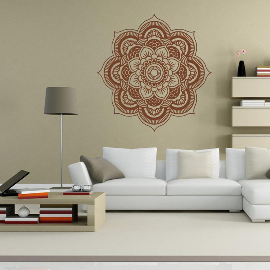 Blanc Internet Mandala Fleur Chambre Mur Autocollant Art Stickers Mural Stickers Muraux Bricolage