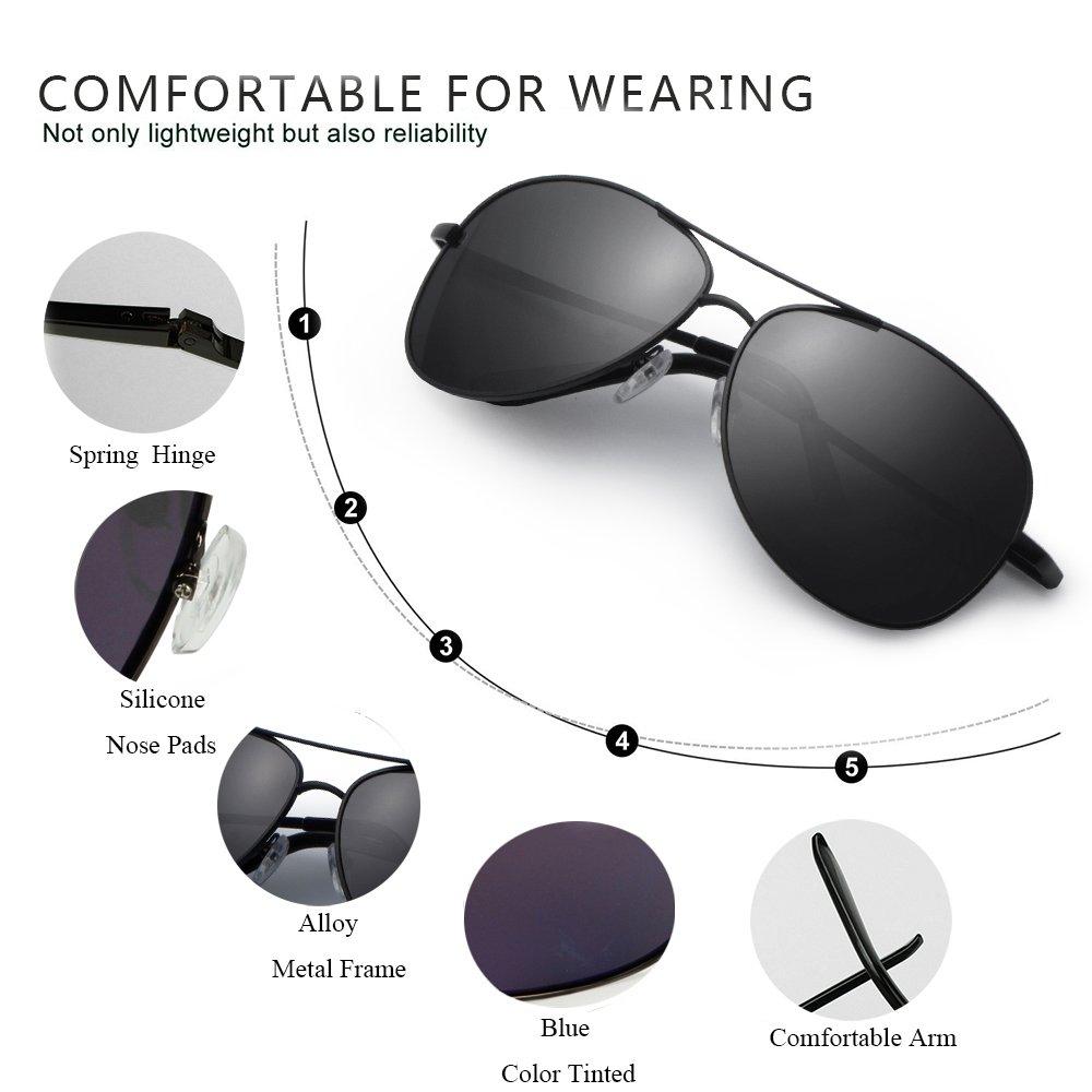 IALUKU Aviator Sunglasses Polarized for Men Classic Pilot Metal Frame UV400 (Black / Grey, 64mm)
