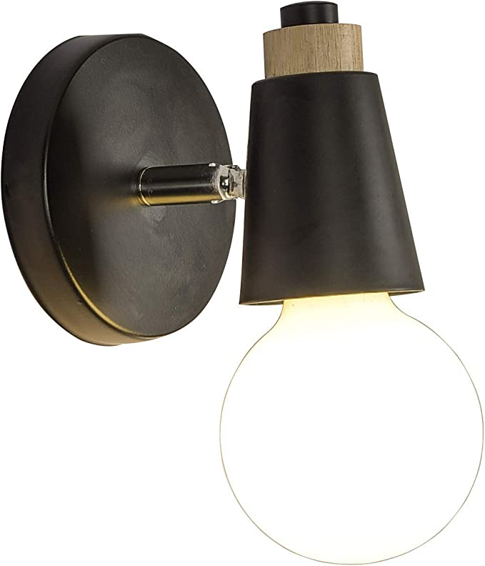 INJUICY Loft Vintage Wooden Base Metal Wall Lights Lamp