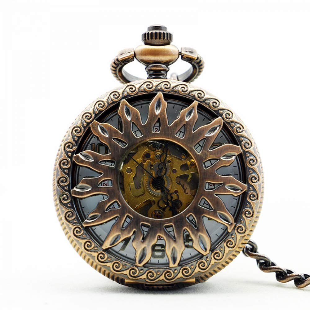 DYH&PW Luxury Gold Sun Steampunk Roman Num Pendant Man and Women Mechanical Pocket Watch Necklace Chain for Gift,A