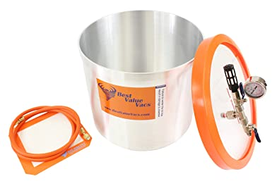 3 Gallon Aluminum Best Value Vacs Vacuum Degassing Chamber and VE115 3CFM Single Stage Vacuum Pump Kit Epoxy Resin Degas Purge Silicone