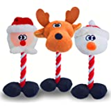 Litviz Christmas Dog Squeaky Toys 3 Pack for Pet Gifts, Durable Tough Dog Rope Toys, Soft Plush Chew Interactive Toy for Smal
