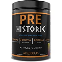 PRE Historic STIM-FREE - Pre Workout Powder by Acropolis Nutrition, Caffeine Free, All Natural, Nitric Oxide, Nootropics…