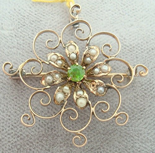 Gold Victorian Pin with Rare Demantoid Green Garnet (#1780)