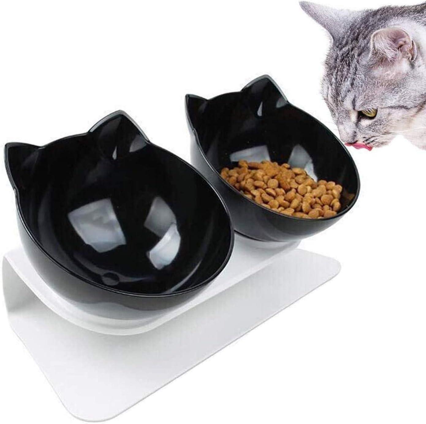 WELLXUNK Cuenco del Gato,Tcuencos Dobles para Gatos, Ajustable Inclinado De 15 ° Tazón Doble, Tazón de Gato Ortopédico, Apto para Gatos y Cachorros (Negro)