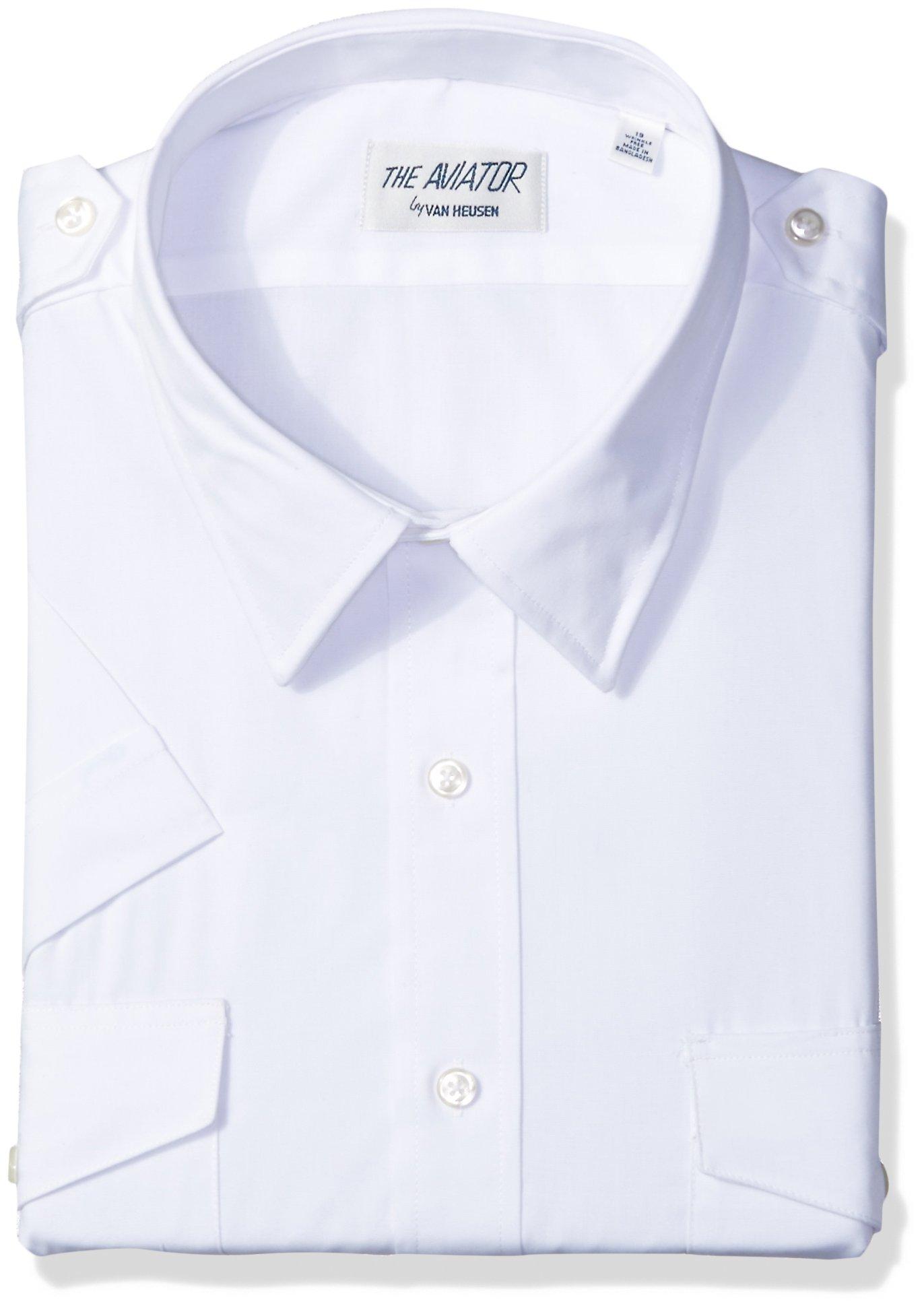 Van Heusen Men's Short Sleeve Aviator Shirt,White,16.5'' Neck