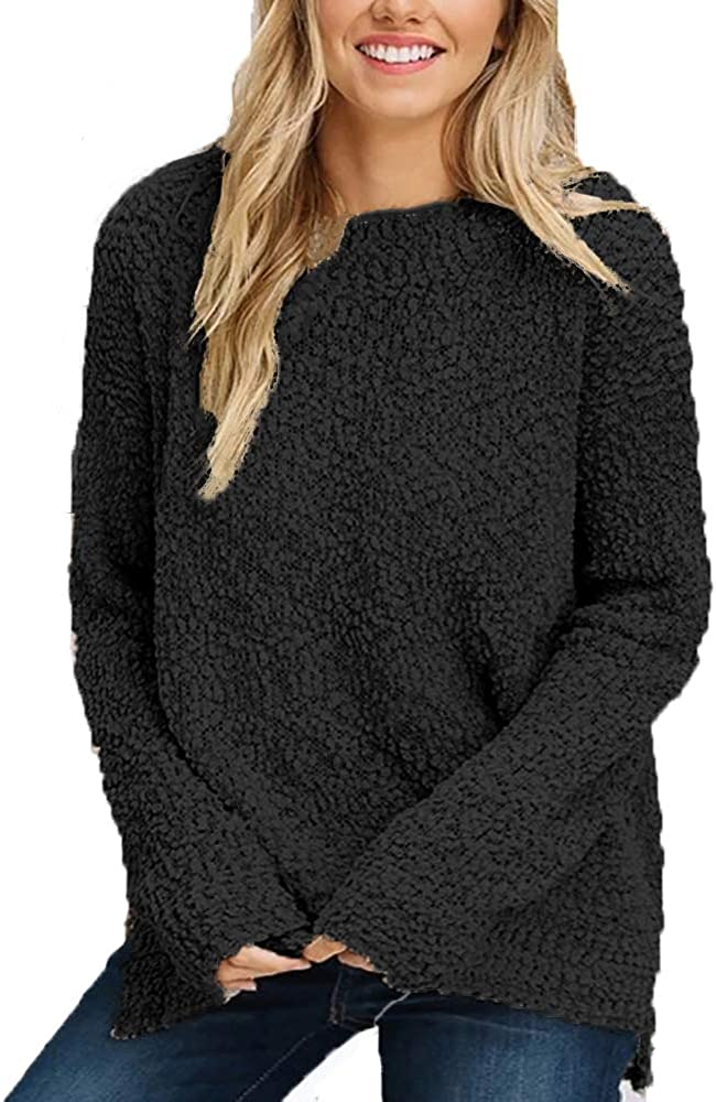 Women Batwing Sleeve Fluffy Loose Knitted Sweater Jumper Cloak Pullover Top Chic