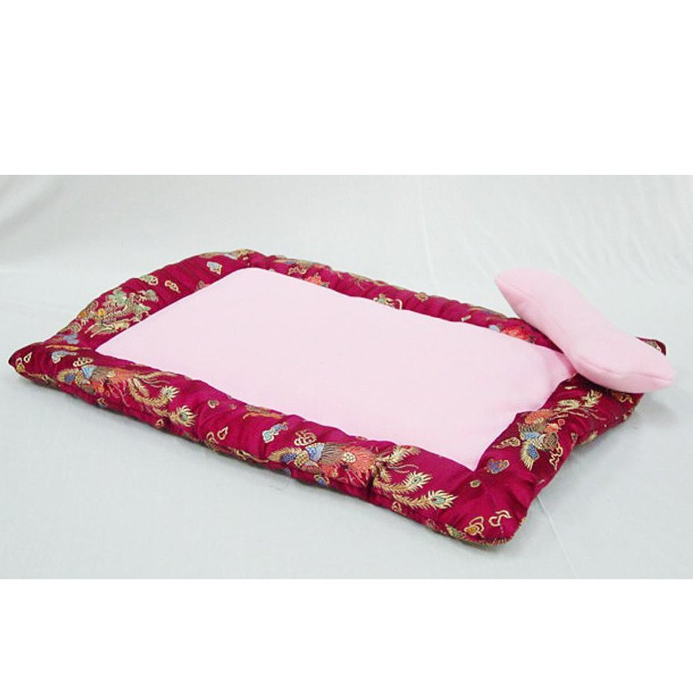 A YunYilian Pet Bolster Dog Bed Comfort Satin Rectangular Pet Litter Dog mat (color   A)