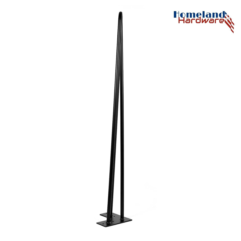 Satin Black Set of 4 4 Mid Century Modern by Homeland Hardware Coffee Table Legs - Metal Legs - Leg Protectors 12 Hairpin Legs 1//2 20 + Screws Desk Legs Furniture Legs