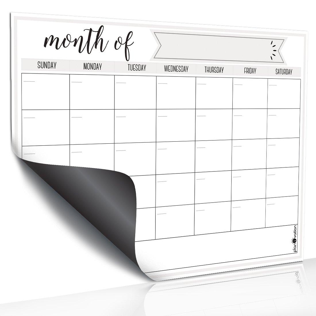 Magnetic Dry Erase Refrigerator Calendar by planOvation   Large Calendar Whiteboard Monthly Planner Magnet by planOvation