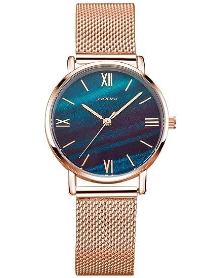 Alienwork Reloj Mujer Relojes Acero Inoxidable Oro Rosa Analógicos Cuarzo Verde Impermeable Ultra-Delgada Slim