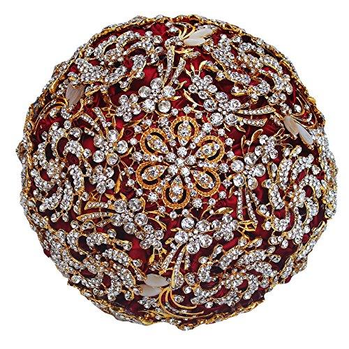 Engerlaラグジュアリーダイヤモンド花嫁、ワインレッドのための手作りHolding Bouquet B07F9SG8L2