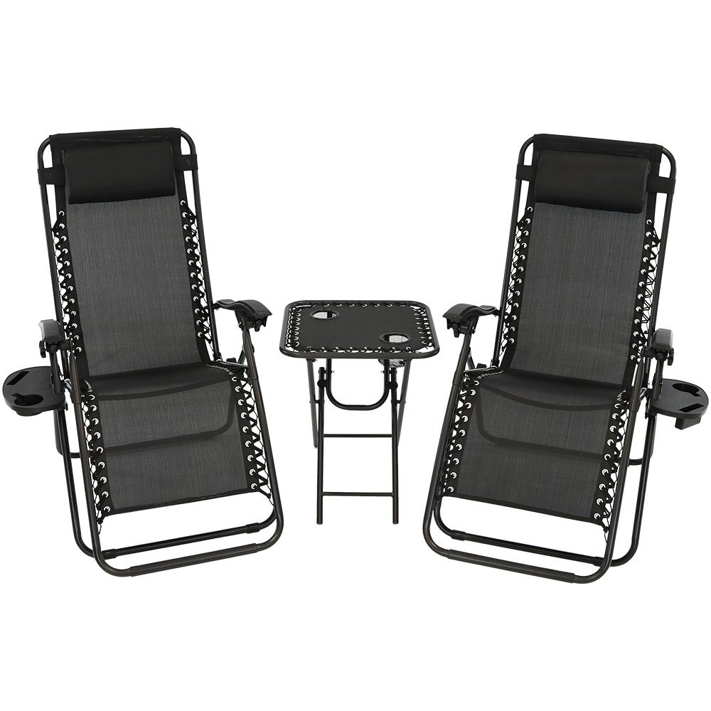 Sunnydaze Outdoor Zero Gravity Reclining Lounge Chairs Set of 2, with Pillows, Cup Holders and Matching Table with Built-in Cup Holders, Black