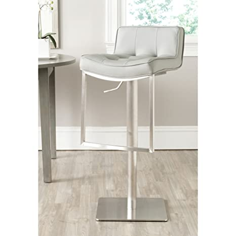 Awe Inspiring Safavieh Home Collection Newman Grey Leather Adjustable Gas Lift 24 8 34 2 Inch Bar Stool Machost Co Dining Chair Design Ideas Machostcouk