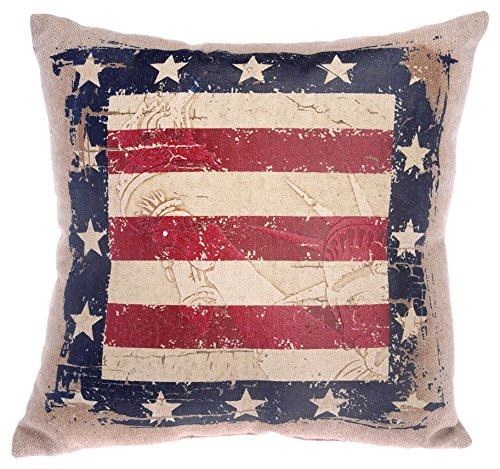 Boston International American Flag Throw Pillow, 10-Inch, Statue of Liberty