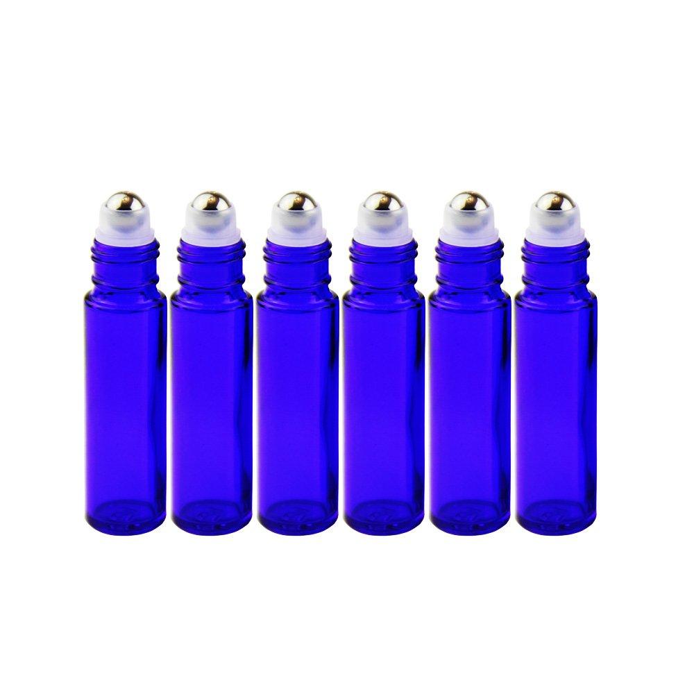 One Trillion, Cobalt Blau, 10 ml Roll-on-Flaschen Glas mit Edelstahl-Roller Kugeln, für ätherische Öle, 1 ml Tropfenform Pipetten Pipette. (6 Stück)