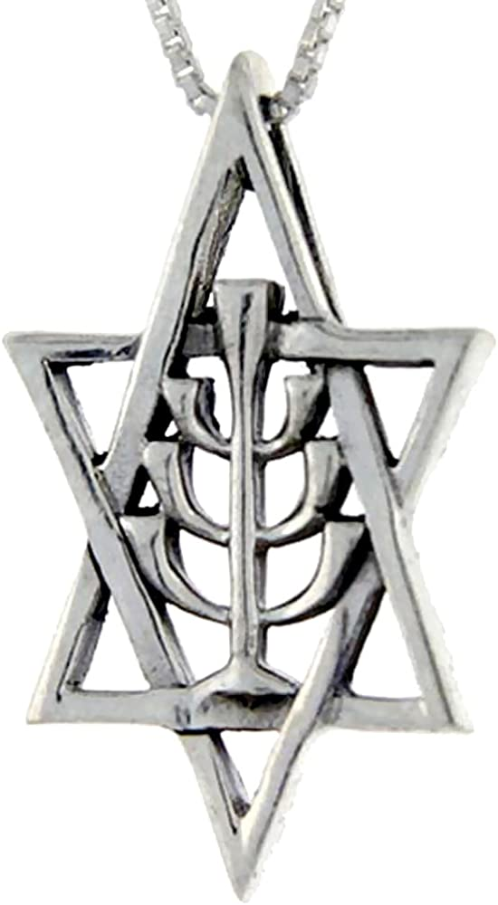 Sterling Silver Star of David Pendant 1//2 inch