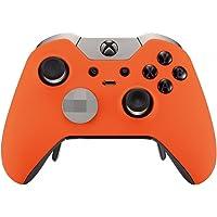 eXtremeRate Carcasa para Xbox One Funda Delantera Protectora de la Placa Frontal Cubierta Esmerilada Antideslizante con Dos Anillos de Acento para Mando del Xbox One Elite Naranja