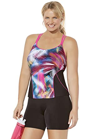 d11aea198c59c Swimsuits for All Women's Plus Size Lycra Xtra Life Confetti Racerback Bike  Shortini at Amazon Women's Clothing store: