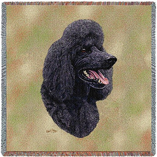 Poodle Throw - Pure Country 3312-LS Black Poodle Pet Blanket, Canine on Beige Background, 54 by 54-Inch
