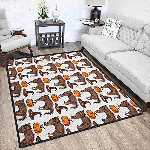 Halloween Natural Fiber Area Rug,Seasonal Vintage Pattern with Pumpkin Squash Witch Hats and Cat Figures Suitable for Children to Play Brown Orange Green 79